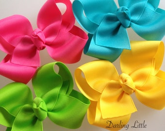 Set of 4 Large Boutique Bows in Bright Summer Colors - Yellow, Hot Pink, Turquoise, Lypple - Sunshiney Day