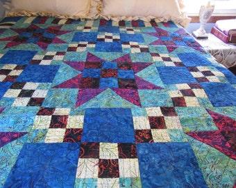 Homemade handmade quilt, Batik quilt, Batik Star Quilt, large lap quilt, livingroom decor, twin bed quilt