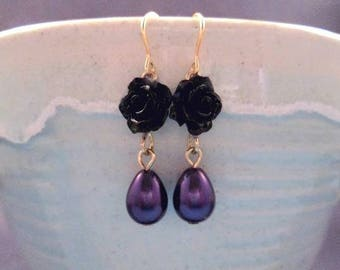 Pearl Earrings, Purple Pearls and Flowers, Black Rose Earrings, Gold Dangle Earrings, FREE Shipping U.S.
