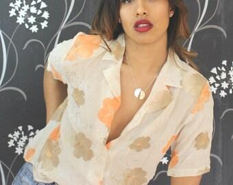 Quirky 80's Vintage Shirt Blouse Vintage Floral Shirt Vintage Blouse  80's  Tops & Tees  Retro Blouse Women's Blouses