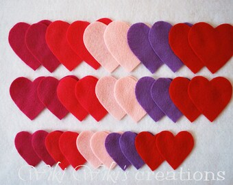 Felt Hearts - Pack of 30- Pick your colors