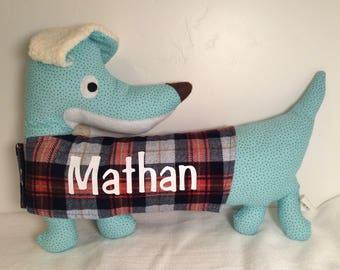 "Personalized Iron-on Vinyl Dachshund Plush (11""L x 14.5""W)"