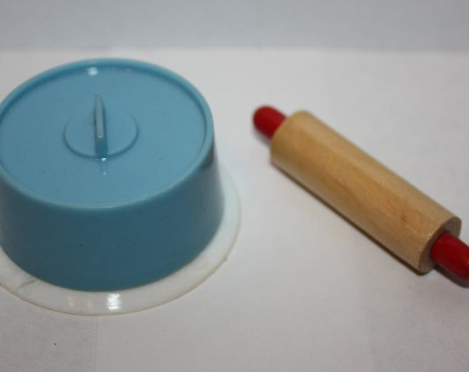 Vintage Barbie Rolling Pin and Blue Cake Pan