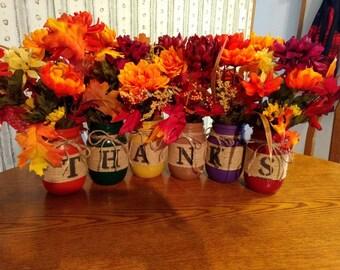 Fall mason jar decor/Thanksgiving mason jar decor/fall centerpiece
