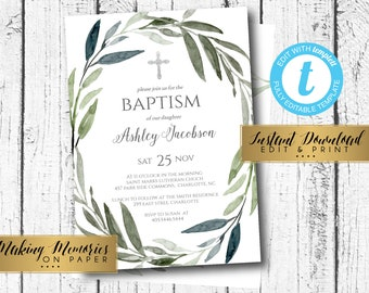 Diy baptism invite etsy greenery baptism invitation first communion instant download floral invitation olive greenery diy invite edit yourself dedication solutioingenieria Gallery