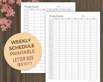 Weekly Schedule Printable Planner, Weekly Planner Pages, Weekly Planner, Letter Size, Weekly Organizer, Planner Printable, pdf, 8.5x11