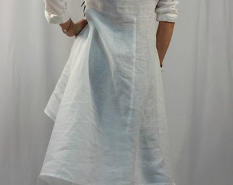 Linen Tunic Dress / Oversize  White Caftan / Maxi Summer Dress / long Sleeve Linen Top / Party Dress / EXPRESS SHIPPING / LA1001
