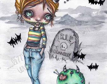 Digital Stamp Instant Download Creepy Cute Big Eye Voodoo Girl N Pet Spookette Lil Devil N Misery Image No. 148 & 148B by Lizzy Love