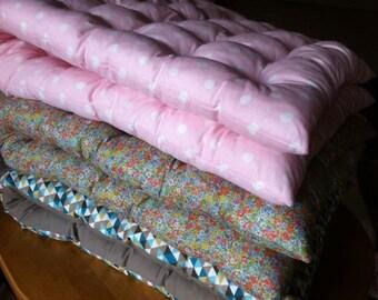 pink polka dot futon Japanese Topper-white-