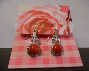 Silver Blood Coral Earrings