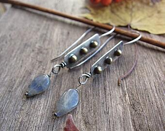 Sterling Silver Brass Labradorite Earrings Mixed Metal Long Dangle Statement Boho Rustic Earrings Girlfriend Birthday Wedding Gift for Mom