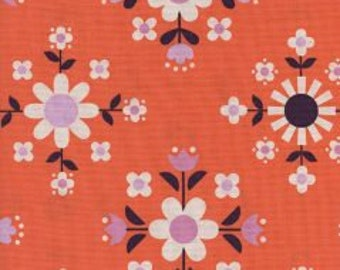 WELSUMMER Unbleached Cotton  By Kim Kight for Cotton and Steel Fabrics Florametry Sweet Orange