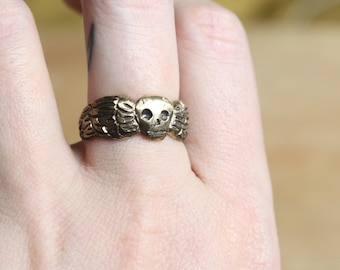 Winged Death's Head Ring