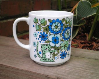 Vintage Cat Coffee Cup / Mug - Retro Collectible Kitschy Tiger Green / Blue Funky Flowers Floral Ceramic Mug - Kitty Cat Lover Gift For Her