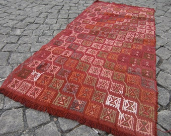 floor kilim rug, small kilim , runner rug, turkish rug, small kilim, moroccan rug, beni ourain rug,