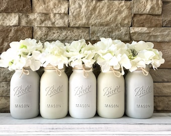 Rustic Mason Jar Center pieces For table, Mason Jar Centerpieces Baby Shower Centerpiece Flower, Rustic Mason Jar Decor, Baby Shower Decor