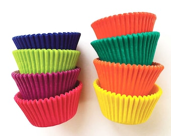 Cupcake Liners (88), Rainbow Cupcakes, Bright Baking Cups, Red - Yellow - Orange - Pink - Purple - Lime - Green - Blue