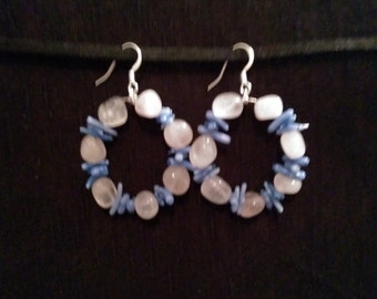 Rose Quartz and Blue Bamboo Coral Cupolini Earrings