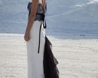 Vintage Style Low Back Wedding Gown / Audrey Gown / Silk / Chantilly Lace / Black and White / Long Train