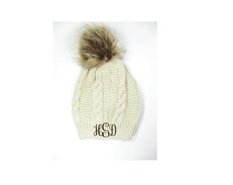 Custom Embroidery Knit Hat White & Soft Pom Pom Beanie Fur Pom