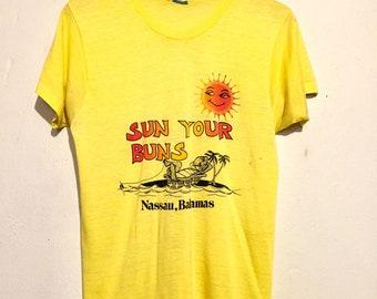 80s Vintage Sun Your Buns Bahamas Tee Shirt medium te00456