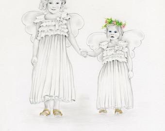Siblings Custom Portrait Drawing Hand Drawn Portrait from Photo Siblings Portrait Personalized Gift for Mom  Baby Custom Portrait Art