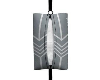 Auto Sneeze - Arrows - Visor Tissue Case/Cozy - Car Accessory Automobile Light Grey White