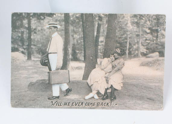Two Women and Man Humorous Antique Postcard RPPC Real Photo Social Commentary