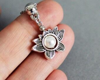 Silver Lotus Necklace Lotus Flower Necklace Lotus Jewelry Necklace Pearl Necklace Silver Flower Necklace Blooming Flower Necklace Nature