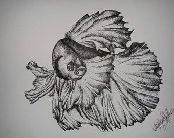 Stipple drawing of a beta fish, 9x12""