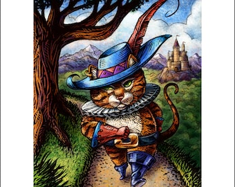 Puss and Boots 11 x 14 signed print
