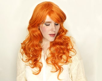 Ginger Orange wig | Long Red wig | Curly Ginger Red Auburn wig | Cosplay wig, Halloween wig & everyday glam | Ginger Angel