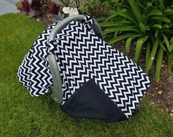 Baby Car Seat  Canopy - Black and White Chevrons