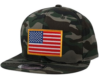 KBethos American Flag Embroidered Patch Flat Bill Snapback Camo Cap - Choose from 5 Patches