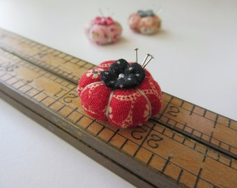 Miniature Pincushion - MADE for YOUR DOLL in Old Fashioned Red - Larger Sized
