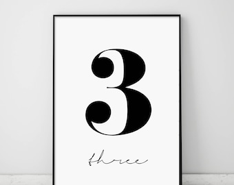 Number 3, Three Print, 3 Poster, Numbers Art, Numbers Typography, Number Wall Art, Scandinavian, 3, Black Number 3