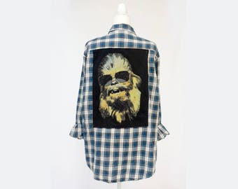 Cool Chewie Star Wars Repurposed Flannel