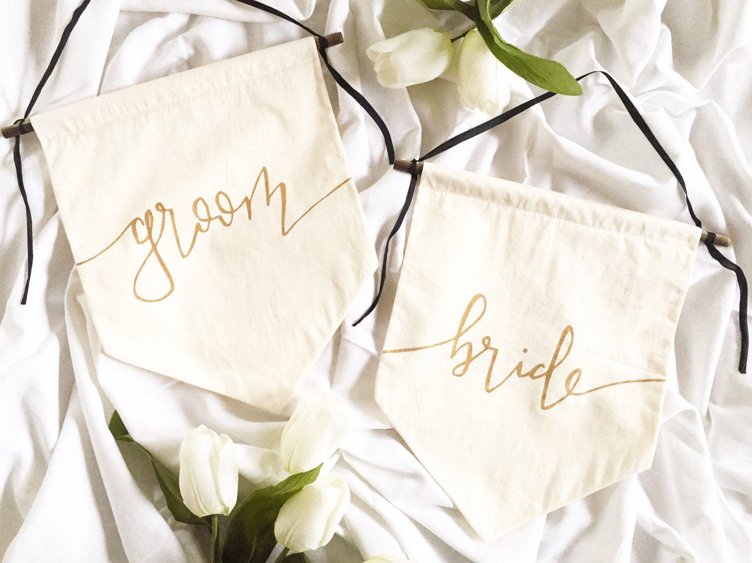 Wedding Chair Signs Bride Groom Mr And Mrs Gold Font