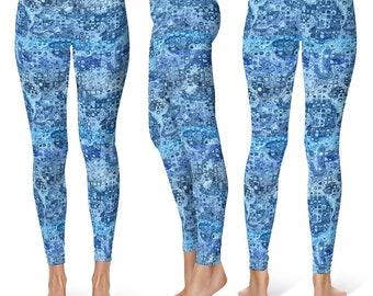 Watery Blue Yoga Pants, Women's Printed Leggings, Aqua Yoga Tights