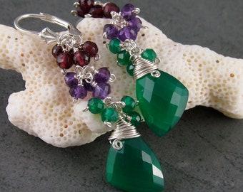 Green onyx earrings, handmade garnet & amethyst gemstone earrings-OOAK Confetti