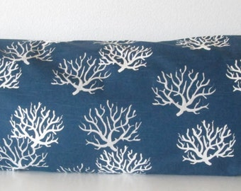 Body pillow Cover - Nutical - Navy - Corals - 20x54 - Decorative - Body Pillow Case