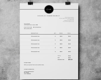 Invoice Template Etsy - Free invoice word template top 10 mens online clothing stores