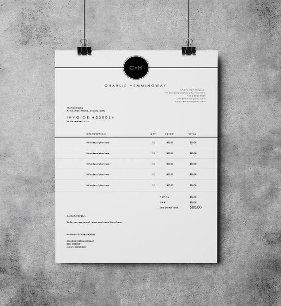 Invoice Template Invoice Design Receipt MS Word Invoice - Word templates for invoices