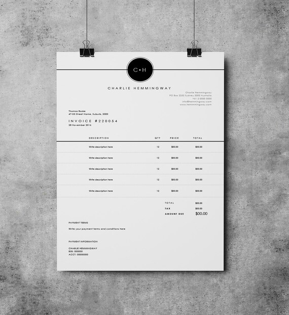 Invoice Template Invoice Design Receipt MS Word Invoice - Create an invoice in microsoft word dress stores online