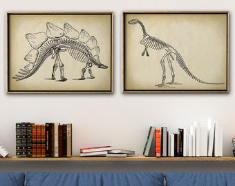 DINOSAUR SKELETONS print SET of 2 Art Prints, Instant Collection Paleontology Wall Decor, Science Poster, Animal Fossils Chart, Skeleton
