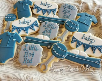 Little hot rod cookies/baby shower/boys/cars (18 cookies)