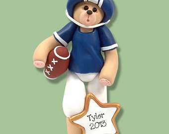 Blue Football Player Bear Personalized Ornament - MATTE FINISH - Handmade Polymer Clay