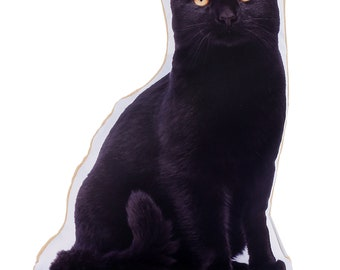 Adorable Black Cat Shaped Midi Cushion