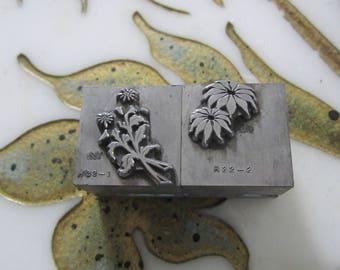 Two Letterpress Printers Blocks 2-Color Poinsettia Metal