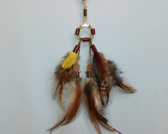 "Necklace feathers in natural ""Eve's creation"""